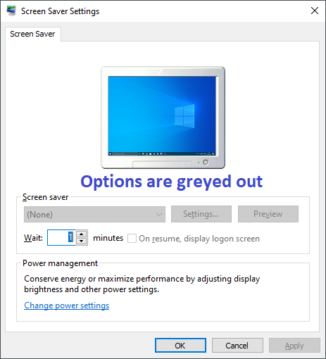 Fix Screen Saver Settings Greyed out in Windows 10